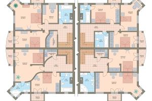 Схема Квадрохаус (240 кв.м.)  (Вариант планировки)